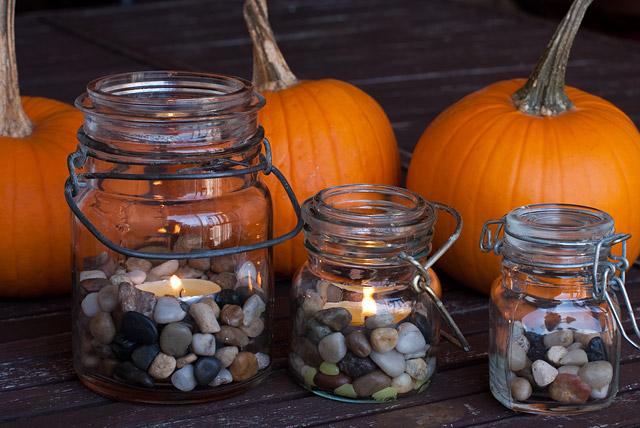 Tea Lights In Jars DIY: Jars And Pumpkins