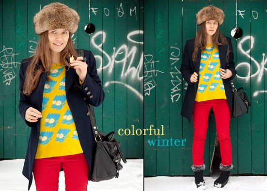 Winter Outfit: Bart Simpson Sweater And Vintage German Hat