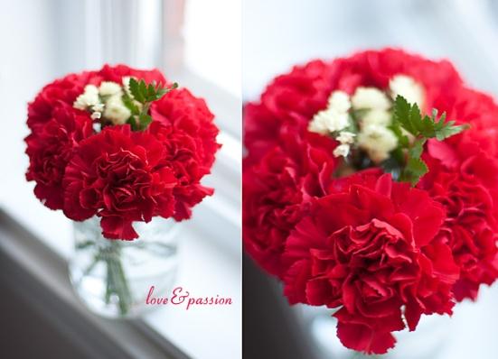 DIY Vases For St-Valentine Flowers: Red Carnations