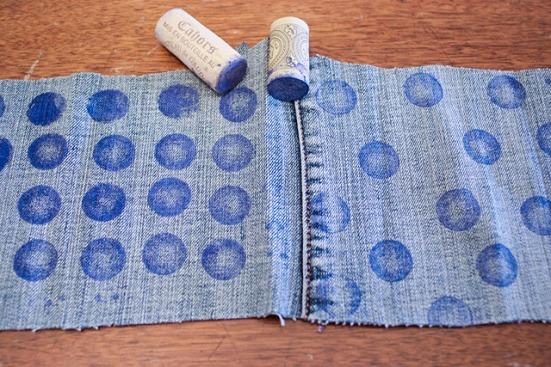 polka Dot Stamped Second hand Denim DIY