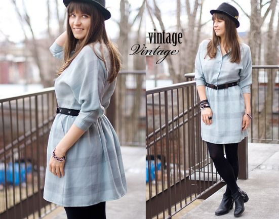 blue Gray Vintage Dress from 80s