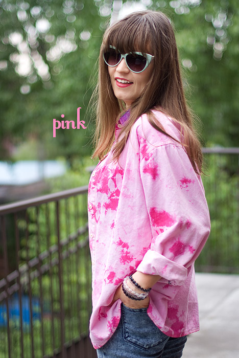 Dylon Flamingo Pink Tie-Dye Secondhand Shirt Upcycle DIY