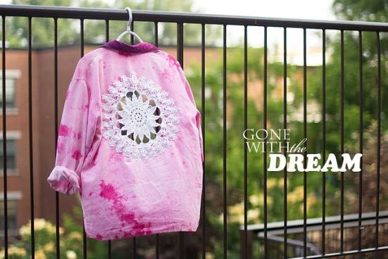 DIY Doily Embellished Tie Dye Pink Shirt