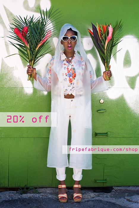 Fripe Fabrique Online  Vintage Futuristic Raincoat  Vintage Floral Blouse