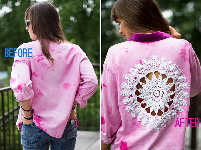 DIY Doily Embellished Tie Dye Pink Shirt Before After