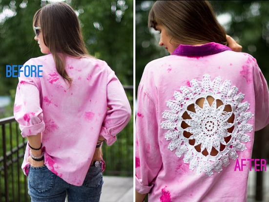 DIY Doily Embellished Shirt Before After