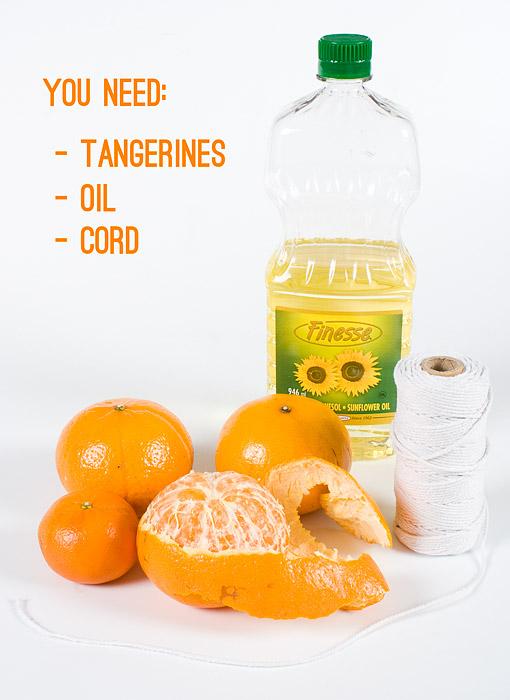 DIY: Tangerine Candles Process