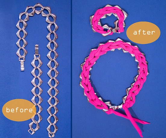 DIY: Chain Set With Pink Crochet Cord Before After