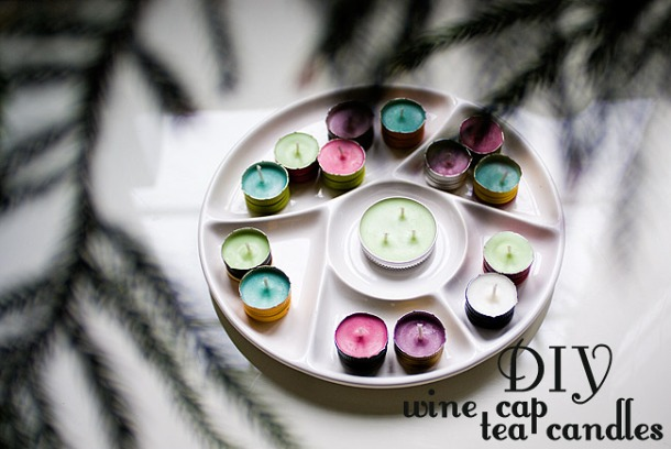 DIY Wine Cap Tea Candles