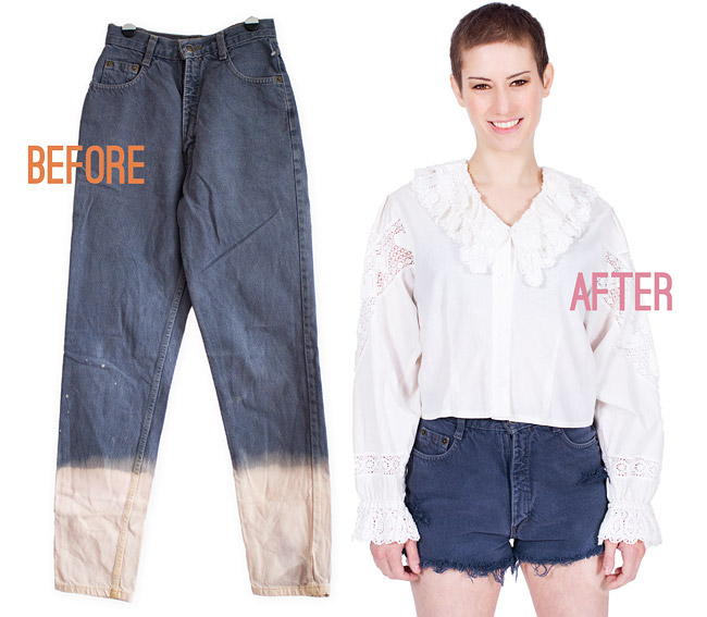 Distressed Denim Cut Off Shorts DIY Before After