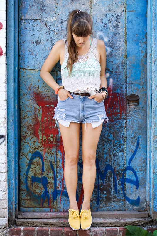 High Waisted Shorts Outfit: Lace And Colour