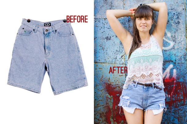 High Waisted Shorts Outfit: Lace And Colour Before And After