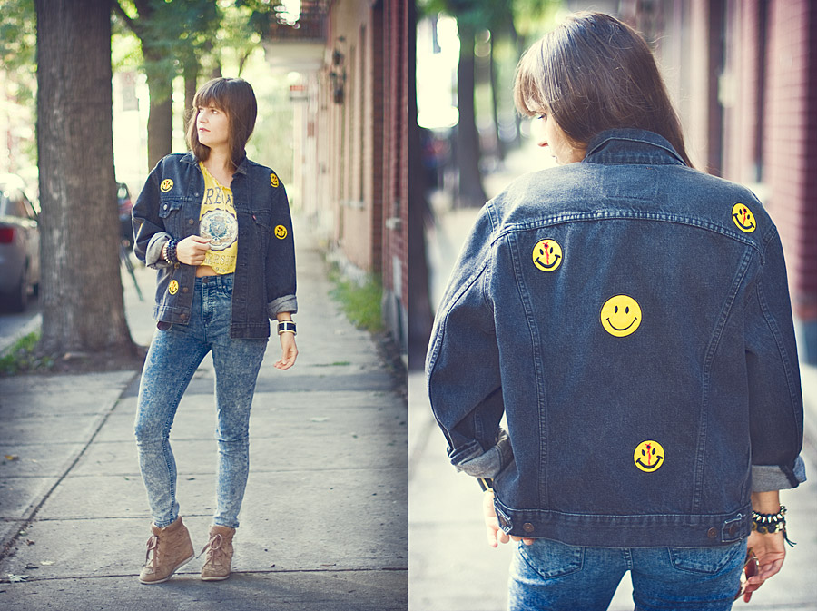 Patched Jacket Without Any Sewing: Patched Denim Jacket With Shot Smileys