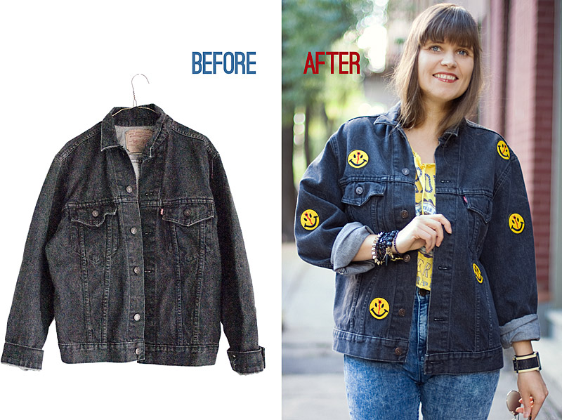 Patched Jacket Without Any Sewing: Before And After