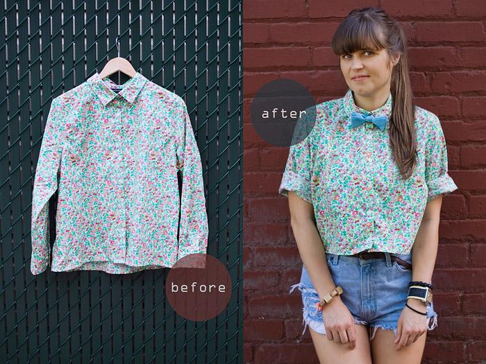 Crop Shirt DIY: Making Wardrobe Basics Before And After