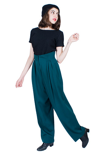 Forest Green Wool Pants 80s Vintage 1980s High Waisted Pockets Baggy