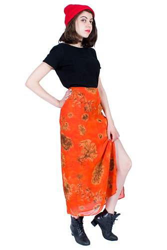 Orange Maxi Skirt 90s Slit Long Vintage High Cut 1990s Sunset