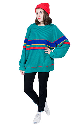 Green Woolen Sweater 80s Stripes 1980s Vintage Knit Oversize Red Blue Yellow Cozy GANT