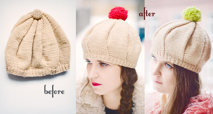 Changeable Pom Pom Beret DIY: Before And After
