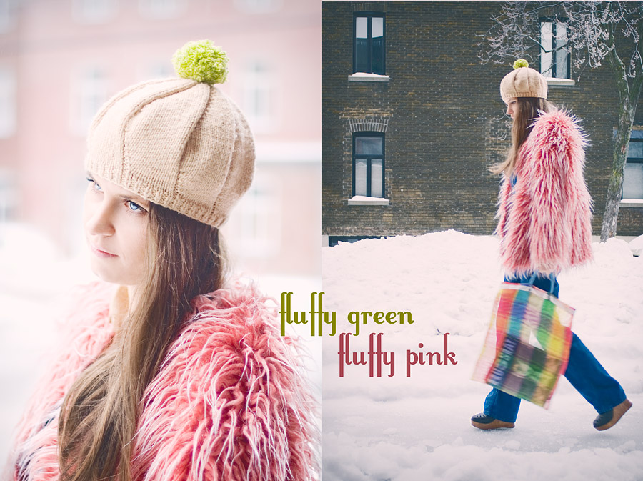 FuzzyGreen Pom-Pom And Fluffy Pink Coat: First Outfit With Changeable Pom-Pom Beret