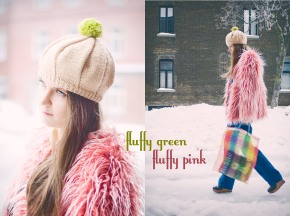 FuzzyGreen Pom-Pom And Fluffy Pink Coat: First Outfit With Changeable Pom-PomBeret