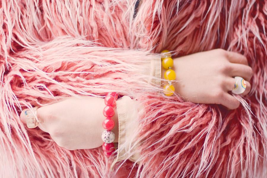 FuzzyGreen Pom-Pom And Fluffy Pink Coat: DIY Bracelets