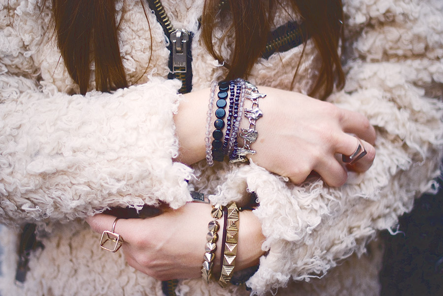 Hipster Winter Outfit:hipster bracelets,diy bracelets, metal wolfbracelet, metal spike bracelet