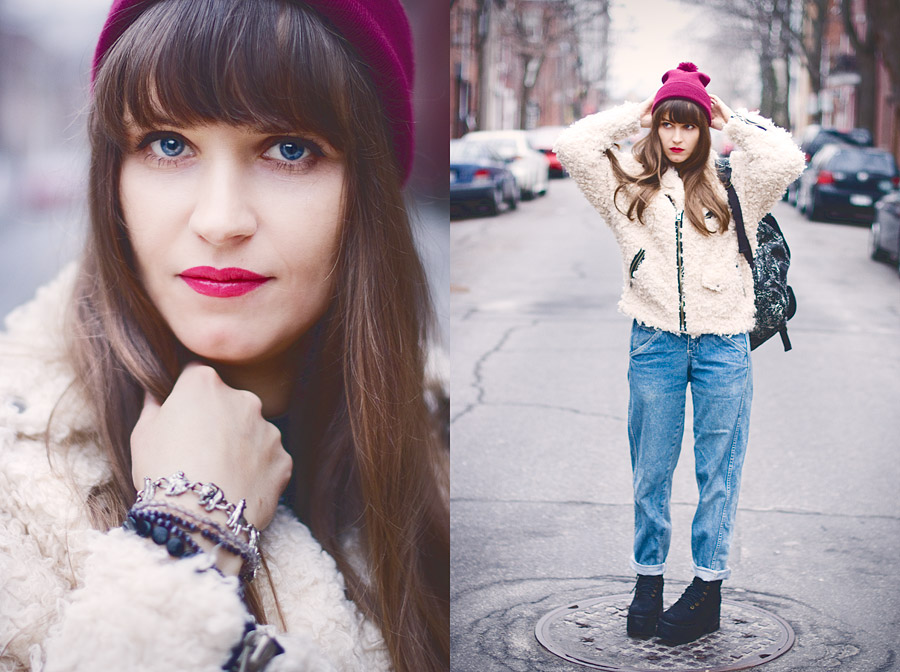 Hipster Winter Outfit: Vintage 80s fashion Jeans , Faux Fur Jacket, Jeffrey Campbell Boots, pom-pom tuque, Urban Outfitters backpack