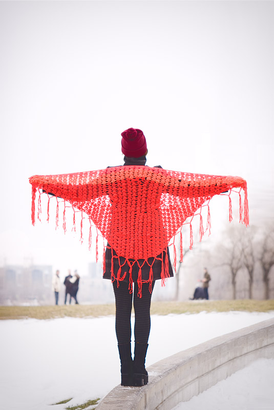 Red And Grey Winter Outfit: Vintage Shawl