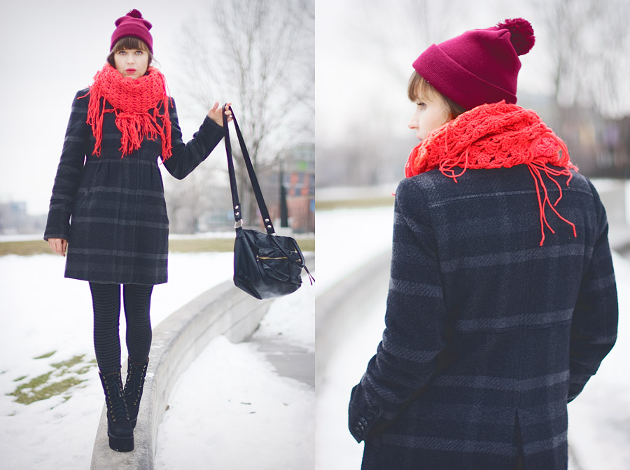 Red And Grey Winter Outfit