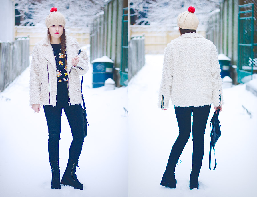diy-fashion-pompom-beret-red-faux-fur-moto-jacket-full-front-back-Jan-04-2015-02