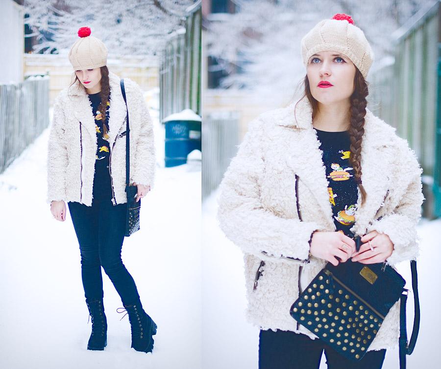 diy-fashion-pompom-beret-red-faux-fur-moto-jacket-full-front-close-up-Jan-04-2015-01