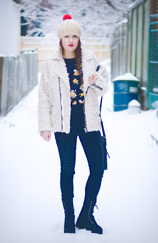 diy-fashion-pompom-beret-red-faux-fur-moto-jacket-full-front-Jan-04-2015-02