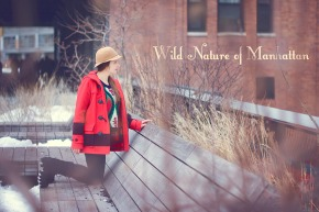 New York, New York: Canadian Olympic Coat and Vintage Cloche Hat in High LinePark